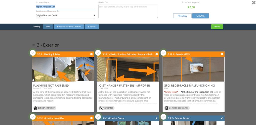 repair request builder screenshot